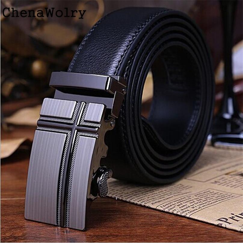 ChenaWolry Classics Fashion Accessory Hot Men Alloy Automatic Buckle Leather Formal Strap Waist Belts Belt BK