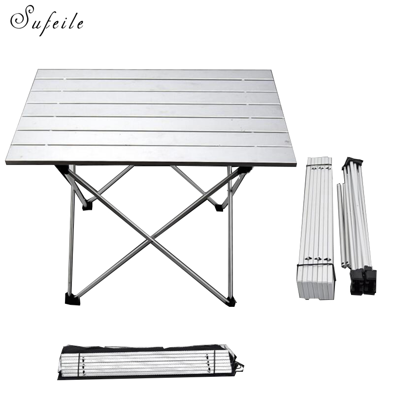 цена на SUFEILE Aluminum Alloy Portable Folding Able Desk Camping Picnic Outdoors Tea Barbecue Table Folding Outdoor Computer Desk D20