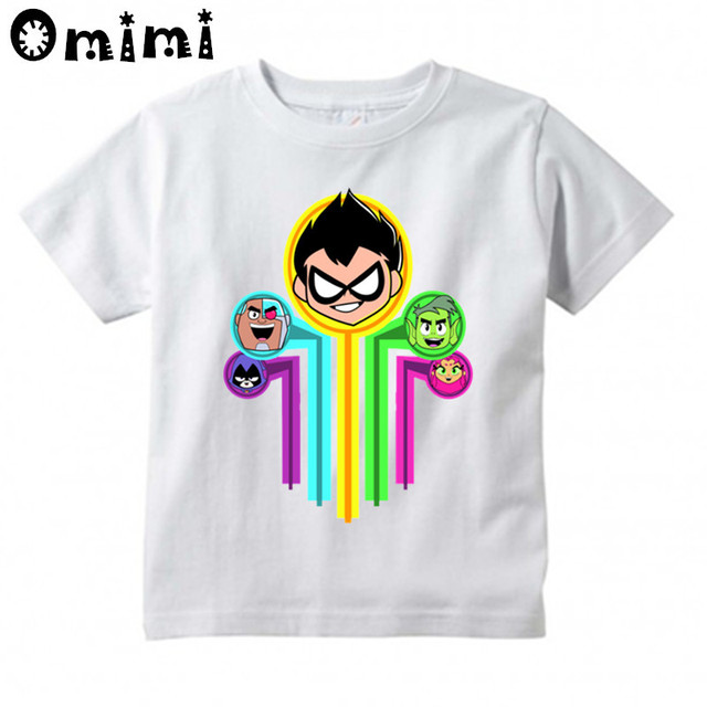 9ab04eb8 US $6.1 38% OFF|Kids Teen Titans Go Cartoon Design T Shirt Children Great  Casual Short White Tops Boys/Girls Cute T Shirt; HKP5129-in T-Shirts from  ...