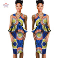 african dresses for women 2017 Dashiki lady skirt set femme natural Bazin Riche africa print dresses cotton two pieces BRW WY804