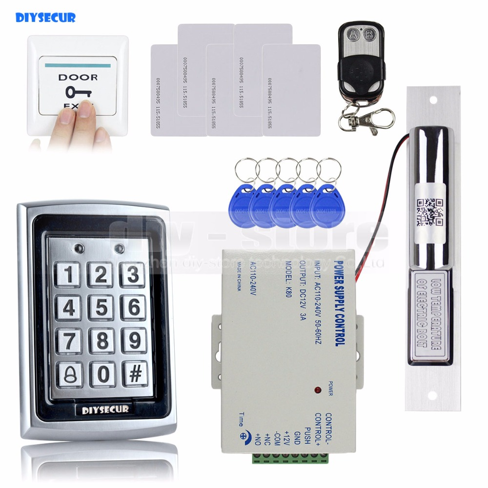 DIYSECUR 125KHz RFID Keypad Door Access Control Security System Kit + Electric Bolt Lock  + Exit Button +Remote Control 7612 diysecur 125khz rfid metal case keypad door access control security system kit electric strike lock power supply 7612