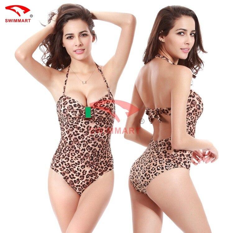 ФОТО New Sexy Monokini Stripes One Piece Swimwear Top Halter Swimsuits One Piece Swimsuit Leopard Swimwear Women Sexy Monokini 2016