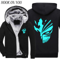 2017 Winter Hot Cartoon Bleach Noctilucence Luminous Cosplay Men Thicken Hoodies Kurosaki Ichigo Sweatshirts Drake Thermal Coats