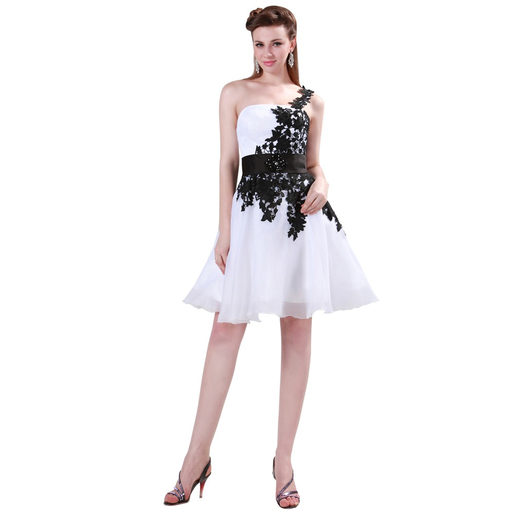 Grace Karin White and Black One Shoulder Lace Short Prom Dresses Ball Gown Knee Length School Party Dress Cute GK4288 10