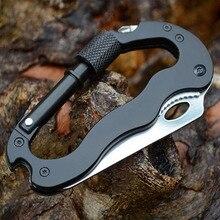 self defense Outdoor Multi-function EDC Tools 5 in 1 Aluminum Climbing Carabiner Security Knife Hook Gear Multi Tool Buckle Rock