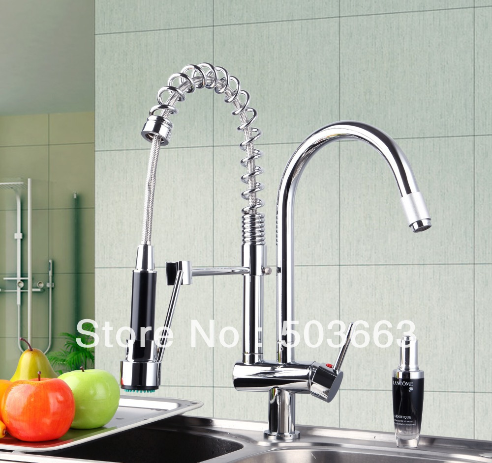 New Double Handles Free Chrome Brass Water Kitchen Faucet Swivel Spout Pull Out Vessel Sink Single Handle Mixer Tap MF-279 led spout swivel spout kitchen faucet vessel sink mixer tap chrome finish solid brass free shipping hot sale