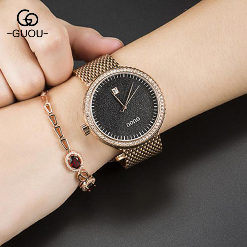 GUOU Luxury Crystal Rose Gold Stainless Steel Quartz Wrist Watch Wristwatches for Women Ladies High Quality 8083 GU003 hot sale luxury crystal rose gold high quality leather quartz gift watch wristwatch for women ladies girls 1 year warrenty