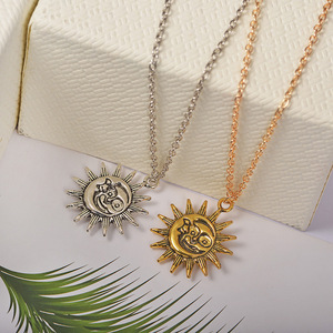 Cute Small Sun Pendant Necklace for Women Gold Color Necklace Chain Choker Necklace Bohemian Collar Jewelry Girls Birthday Gift