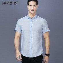 HIYSIZ NEW 100% Linen Shirts Men 2019 Casual Solid Streetwear Short Shirts Men Turn-down Collar Men Shirts For Men Summer ST032 горлач б математический анализ учебное пособие