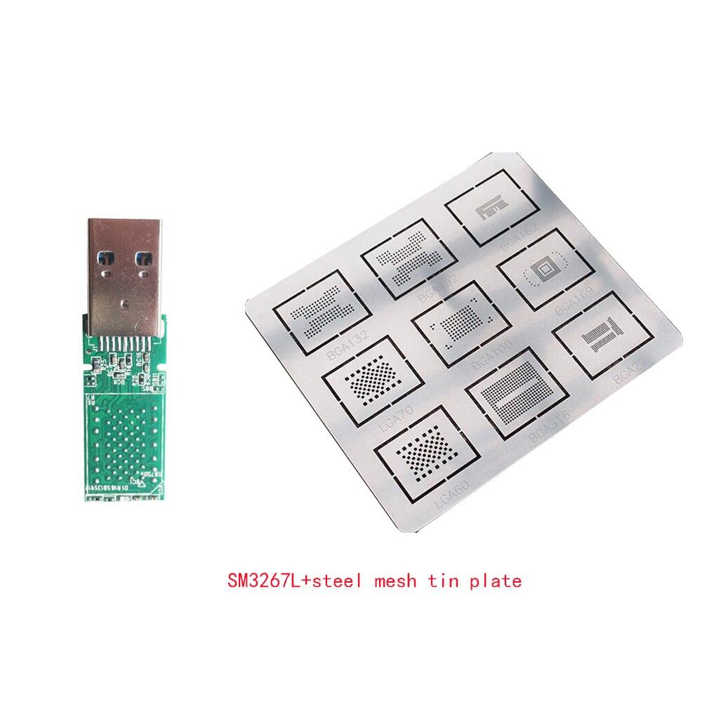Fo iphone usb3.0 U disk LGA60 SM3267L control board PCB board free crystal with LGA double-pad E2NAND Hynix+steel mesh tin plate