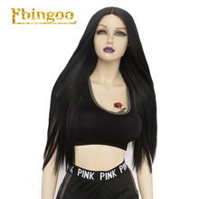 Ebingoo 1B Black Futura Fiber Peruca Long Synthetic Lace Front Wig 26 inch Silky Straight Wigs with Middle Part For Women