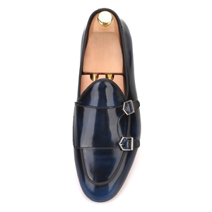 Image 3 - Piergitar handmade calfskin men dress shoes with metal buckle fashion party and wedding mens loafers smoking slippers plus size