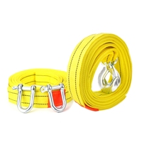 3 Tons 4 Meter Flsorescence Universal Car Tow Cable Towing Strap Rope With Hooks Yellow Color