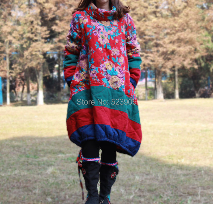 The new winter 2016, 100% cotton and linen dress coat loose big yards his wadded female long cotton clothes цена и фото