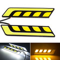 1Pair COB LED DRL 6W Daytime Running Lights White with Yellow Turn Signal Driving Lamp Bar IP65 Waterproof DC 12V
