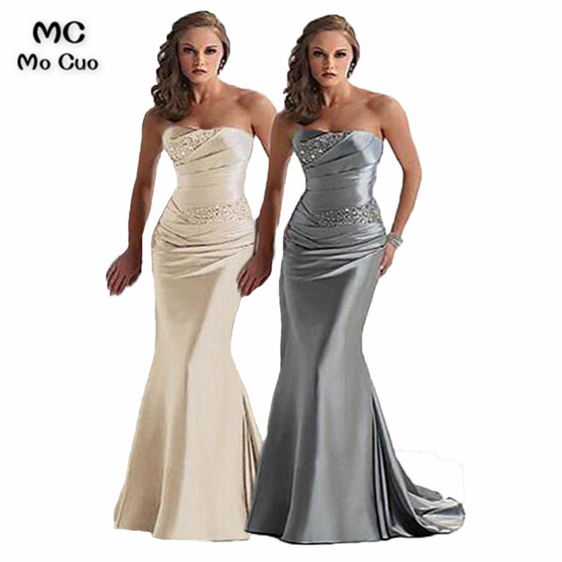 2018 Fashion African Mermaid   Bridesmaid     Dress   with Crystal Beaded Satin Wedding Party Long Formal   Bridesmaid     Dresses   for women