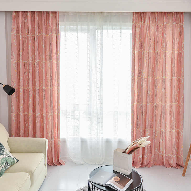 Modern Simple Fresh Idyllic Polyester Cotton Printing Curtains for Living Dining Room Bedroom.