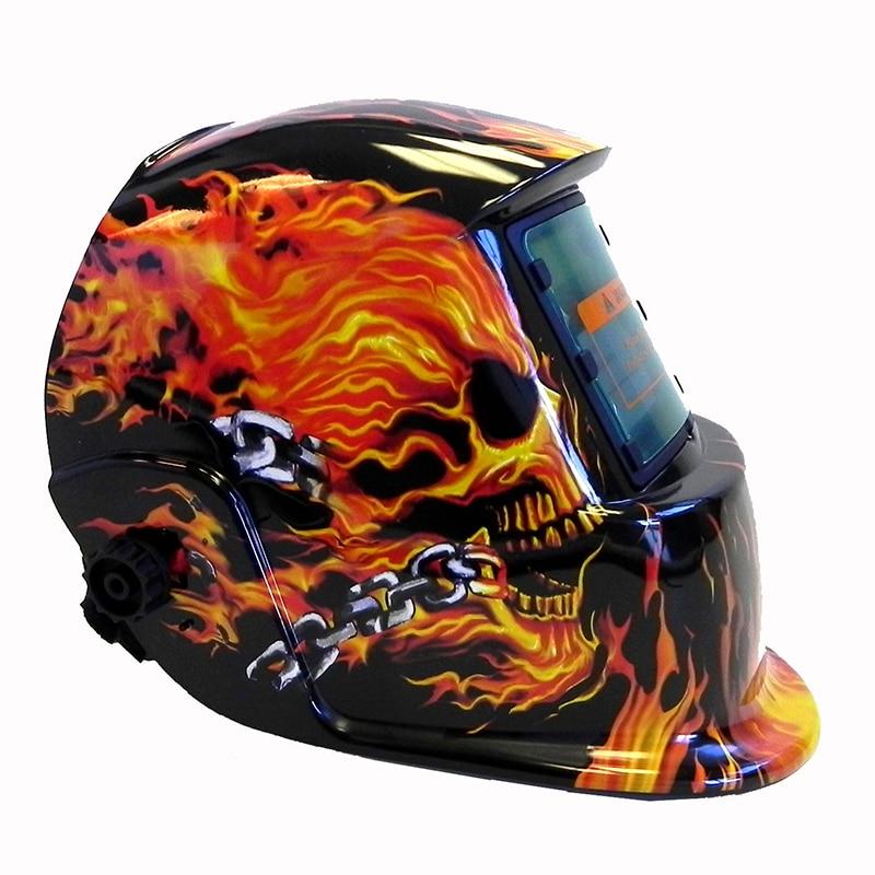 Solar Auto Darkening Welding Helmet Welding Mask Grinding Polishing CE Ansi Certified Skull Safe Tools Protective Helmet