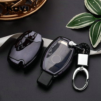 Bonne qualité TPU + PC voiture porte-clés couverture porte-clés chaîne anneau pour Mercedes Benz W203 W210 W211 W124 W202 W204 AMG accessoires