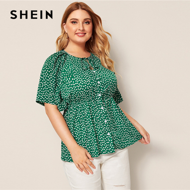 SHEIN Plus Size Green Daisy Floral Button Front Knot Peplum Top Blouse Women Round Neck Flare Sleeve Boho Summer Plus Blouses 3