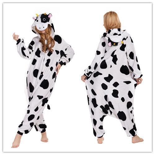 Unisex Adult Kugurumi Pajamas Halloween Xmas Cosplay Costume Homewear Lounge Wear -Cow Sleepwear Onesie