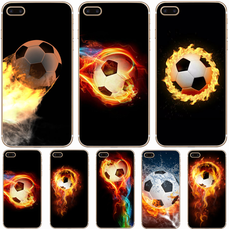 H084 Fire Football Soccer Ball Transparent Hard Thin Case Cover For Apple iPhone 4 4S 5 5S SE 5C 6 6S 7 8 X Plus