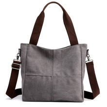 Wanita Gaya Padat Ritsleting Tas Sastra Simple Messenger Tas Kanvas Tas Tas Bahu Gray(China)