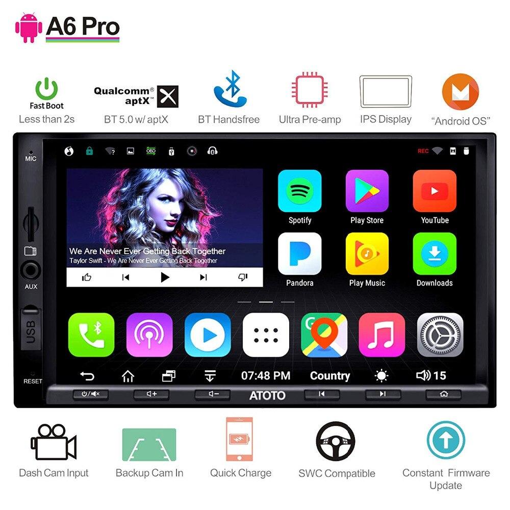 ATOTO A6 2 דין אנדרואיד רכב GPS סטריאו נגן/2x Bluetooth & aptX & IPS תצוגת/A6Y2721PRB// indash מולטימדיה רדיו/WiFi USB