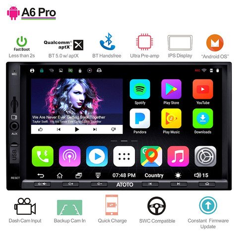 atoto a6 2 din android stereo car gps player 2x bluetooth aptx display ips a6y2721prb