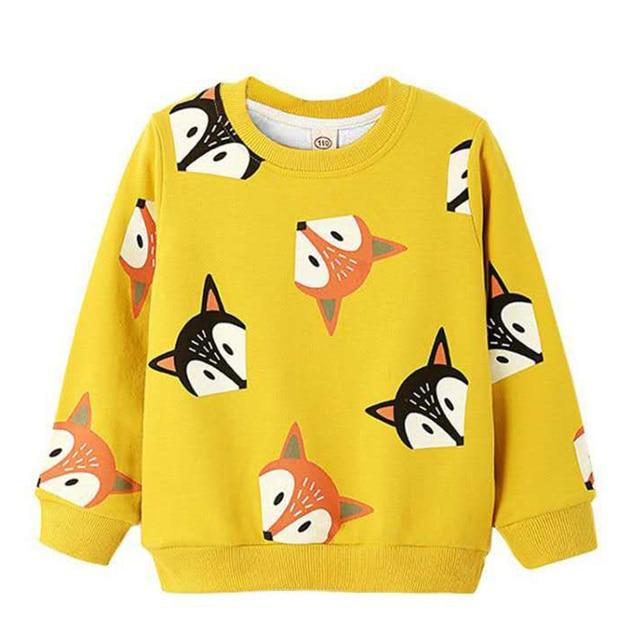 Autumn Sweatshirts Kids Shirts Toddler Boy Girls Long Sleeve Cartoon Fox Print T-shirt Blouse Tee Tops Children Clothes 3-7Y
