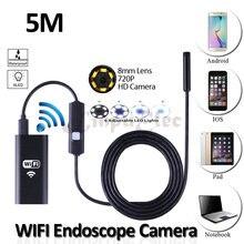 8 мм Объектив Iphone Wifi USB Эндоскоп Камеры HD720P 5 М Гибкая Змея USB Бороскоп Инспекции Tablet PC 2-МЕГАПИКСЕЛЬНАЯ камера 6LED