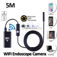 8mm lente iphone wifi android usb inspeção endoscópio camera hd720p 5 m flexível cobra usb tablet pc 2mp endoscópio câmera 6led