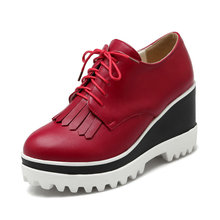 New Spring/autumn red shoes woman Wedge High Heel Platform pu leather Women Pumps Lace Up Tassel Ladies Wedding Shoe Size 34-43