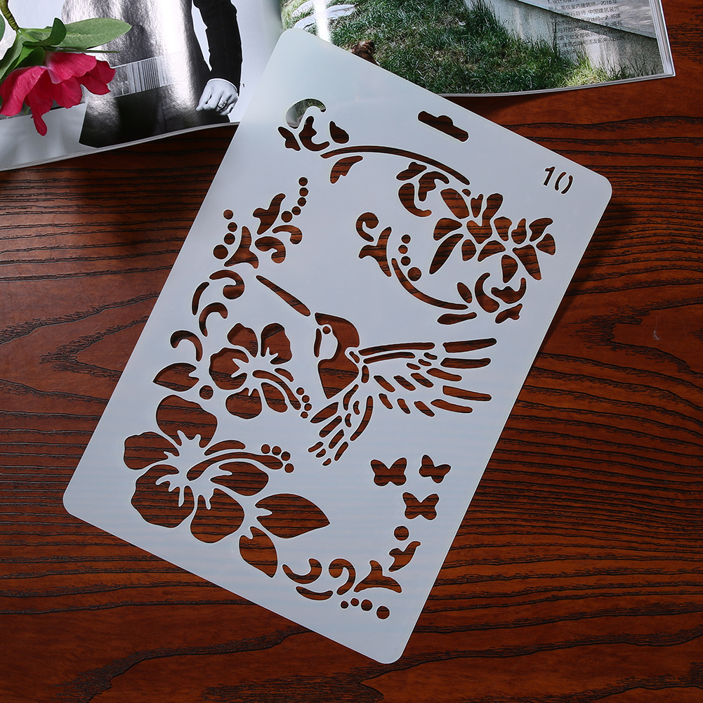 Flower Bird Pattern Hollow Ruler Template DIY Floral Stencil Scrapbooking Card Craft for Photo Album Decoration Drawing Tool