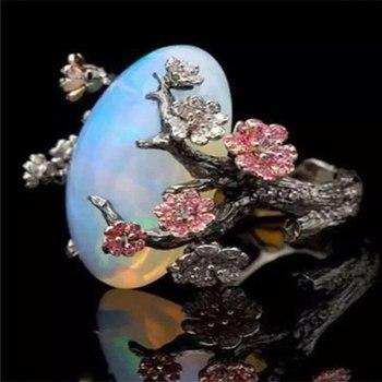 цена FDLK  New Brand Vintage Black Big Egg Shaped Opal Flower Wedding Engagement Ring for Women Dropshipping онлайн в 2017 году