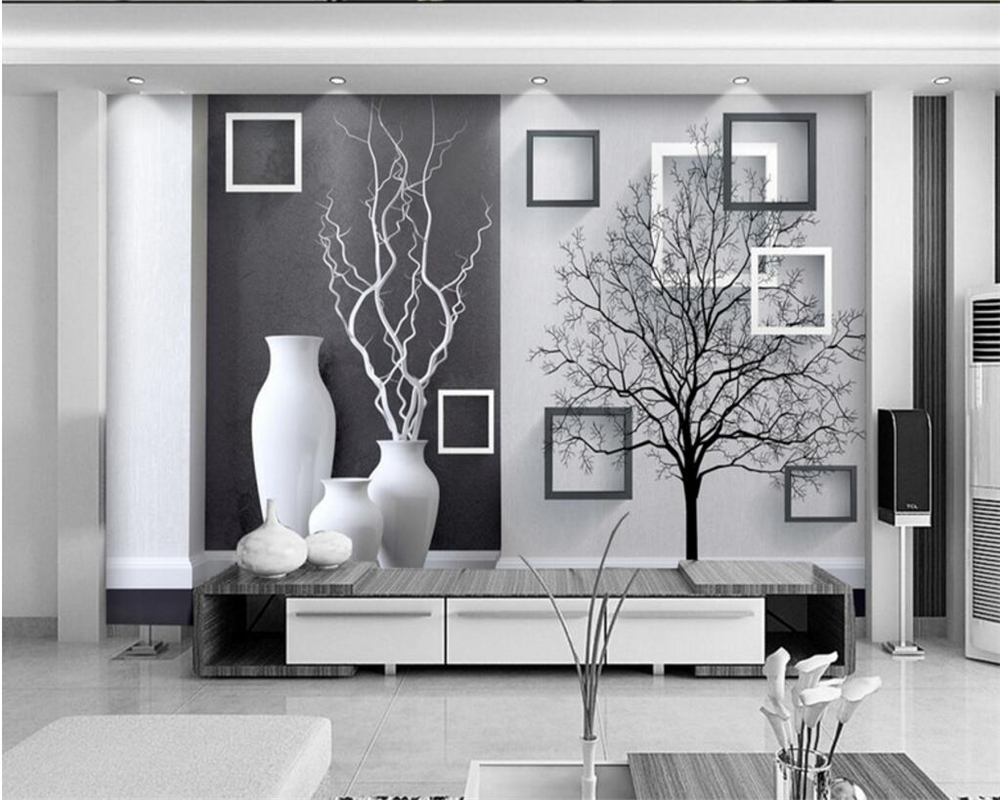 Beibehang  wallpaper home decoration living room custom wallpaper modern black and white art vase photo wallpaper for walls 3 d