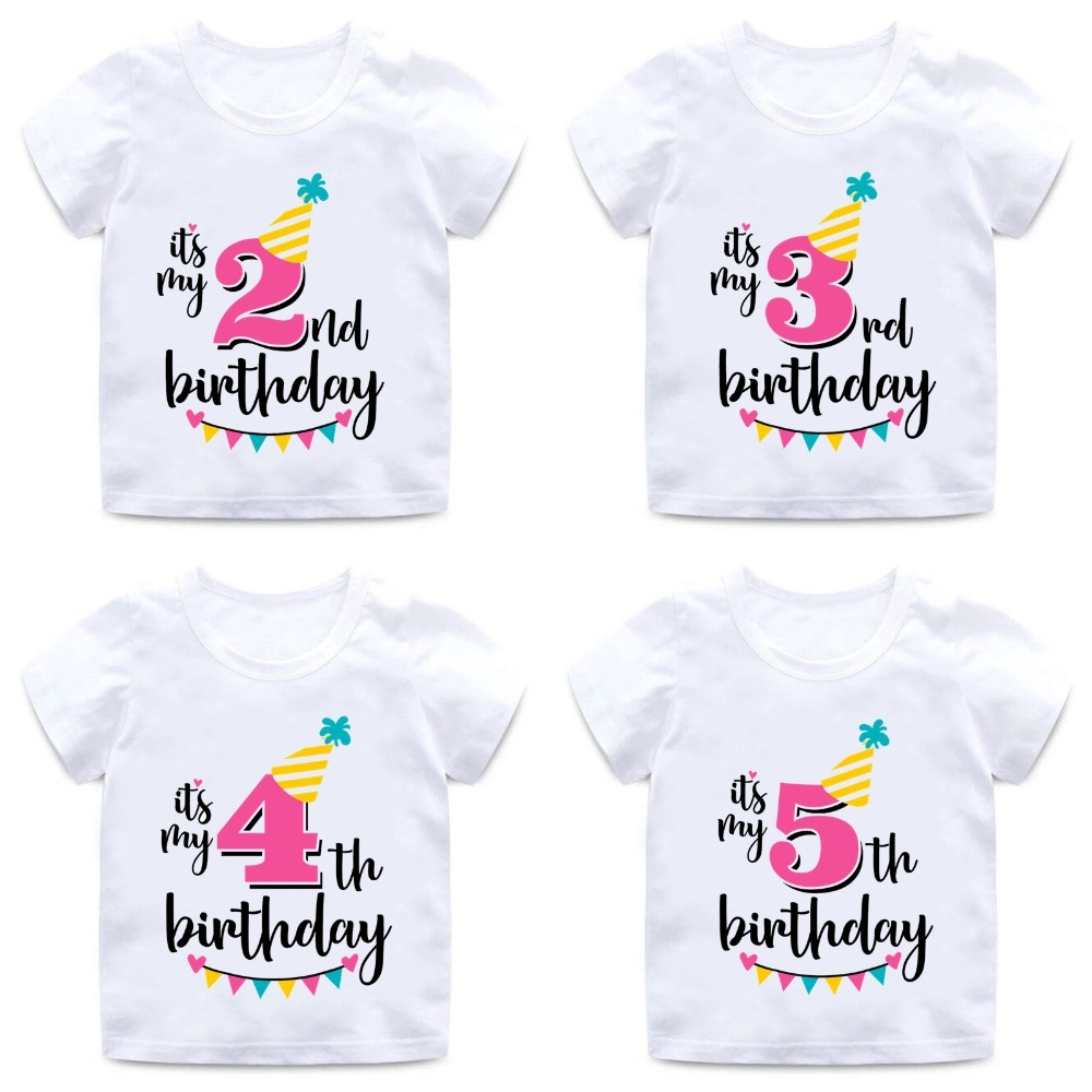 Girls Happy Birthday Number 1-7 Letter Print T Shirt Baby Summer Cute Clothes Kids Funny Birthday Gift Number T-shirt,ooo2432