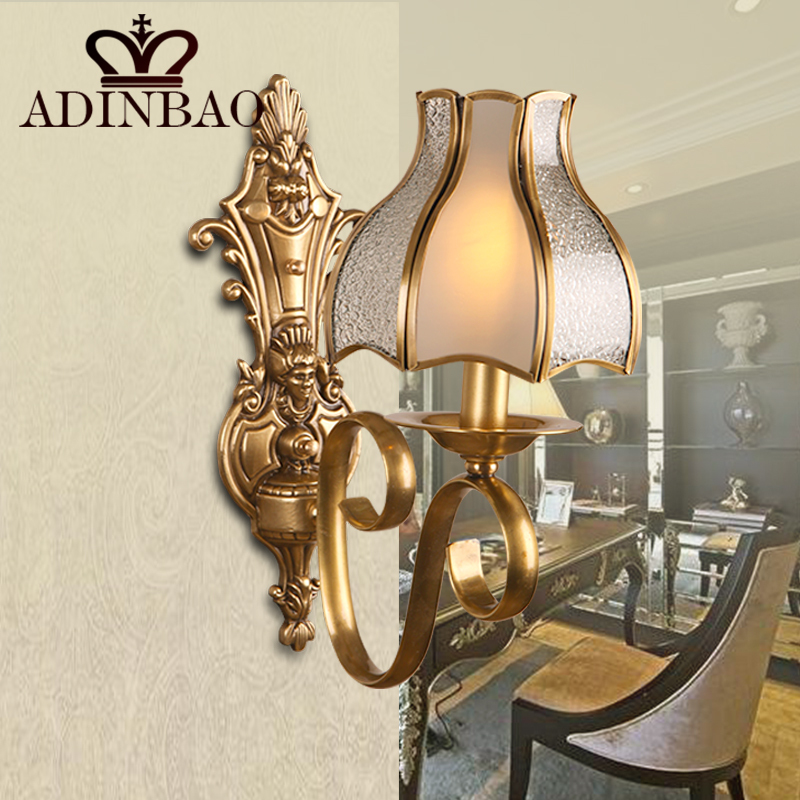 ФОТО European Led Wall Lamp Vintage Copper Wall Sconce Bracket Lighting With Glass Lampshade XB1066