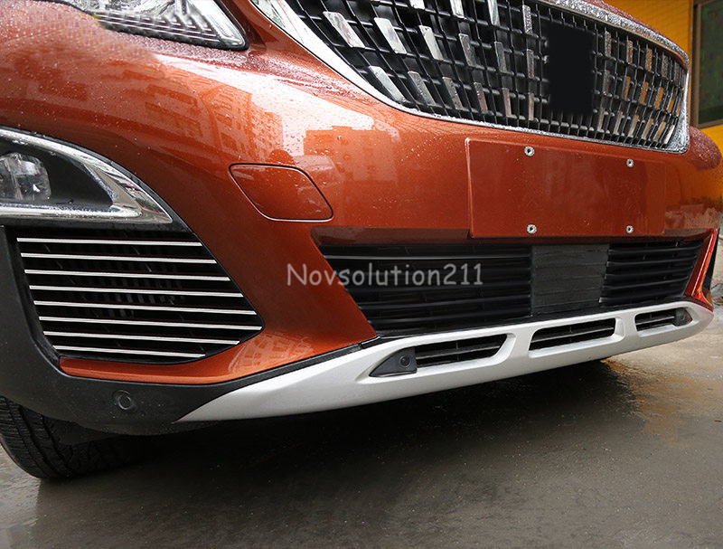 16pcs/set Stainless Front Head Side Fog Light Lower Grill Grille Bottom Decoration Strip Trim For Peugeot 3008 GT 2016 2017 stainless steel front bottom center grille grill mesh cover trims for nissan altima teana 2013 2014