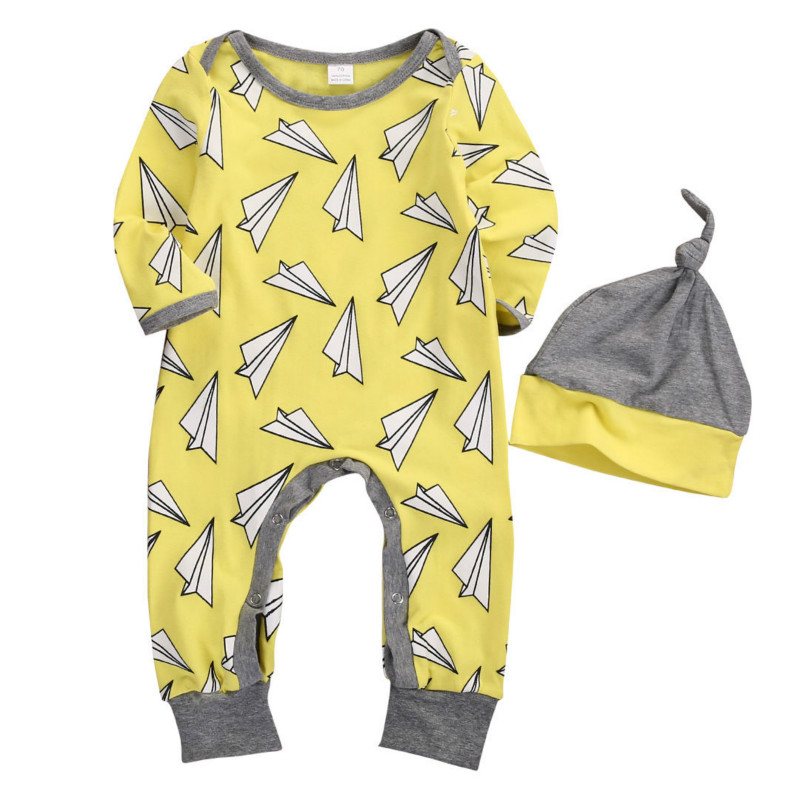 Newborn Baby Boys Girls Paper Plane Cute Long Sleeve Covered Buttons Romper Jumpsuit Hat 2PCS Set Loose Casual Outfits 0-18M