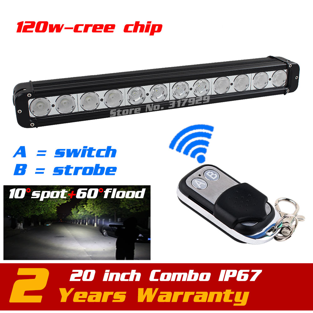 20'' 120W LED Light Bar Wireless Remote with Strobe Light for Truck Tractor ATV 4x4 12v LED Offroad Fog light Save on 180W 11 60w led work light bar wireless remote with strobe light tractor atv offroad fog light bar external light save on 72w