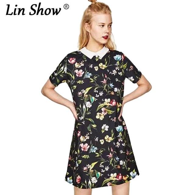 96bb47b47627 LINSHOW Floral Print White Collar Women Dress Black 2017 New Cotton Ladies  Dresses Summer School Style Fashion Woman Dress