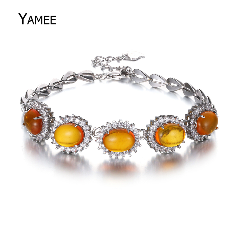 New 925 Sterling Silver Tennis Bracelet 6*8mm Orange Oval Cloudy Ambers Gem Stone Bangles Women Wedding Jewelry Gift Party