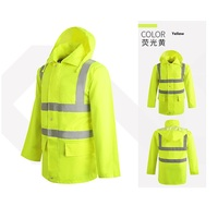Reflective Warning Safety Raincoat Construction Traffic Fission Outdoor Waterproof Overalls Work Attendance Reflective Clothing