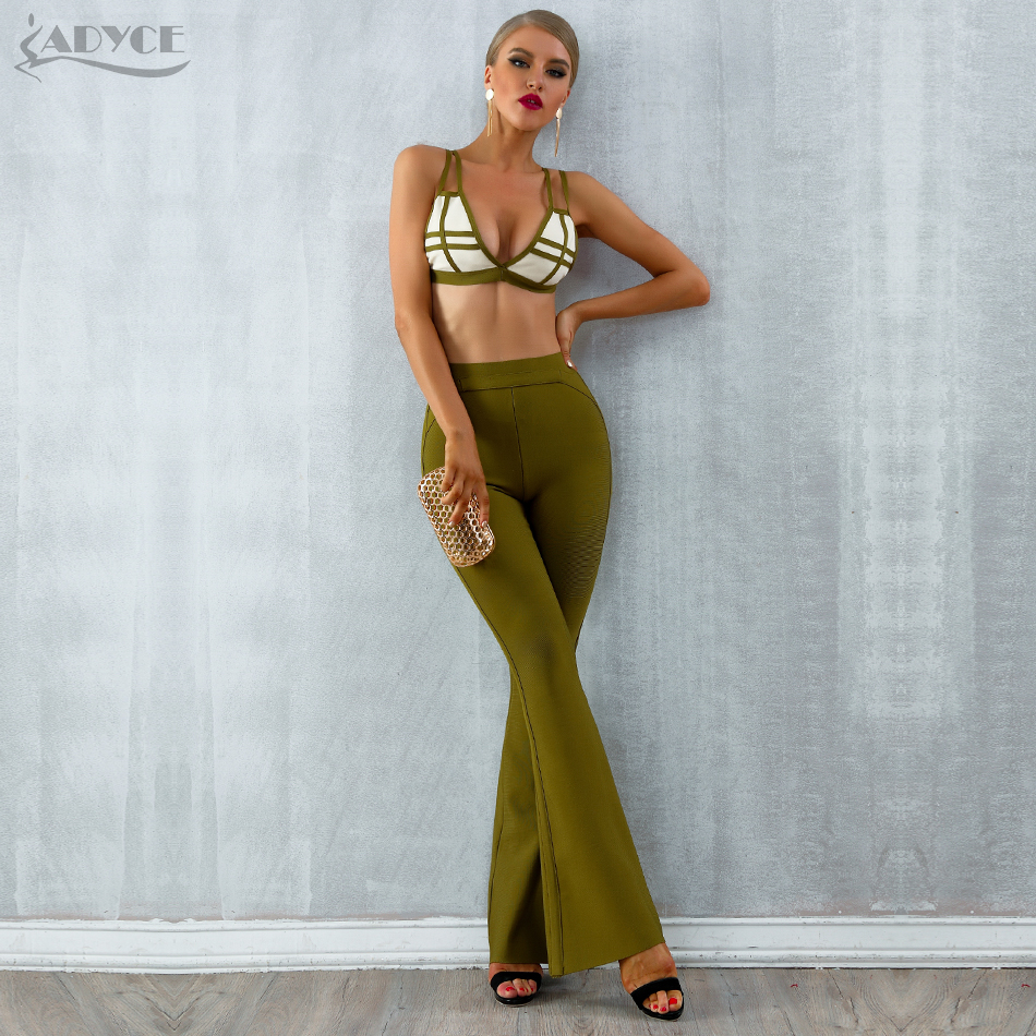 Adyce 2019 New Summer Bandage Sets Women Dress Vestido Striped Tops Pant 2 Two Pieces Set