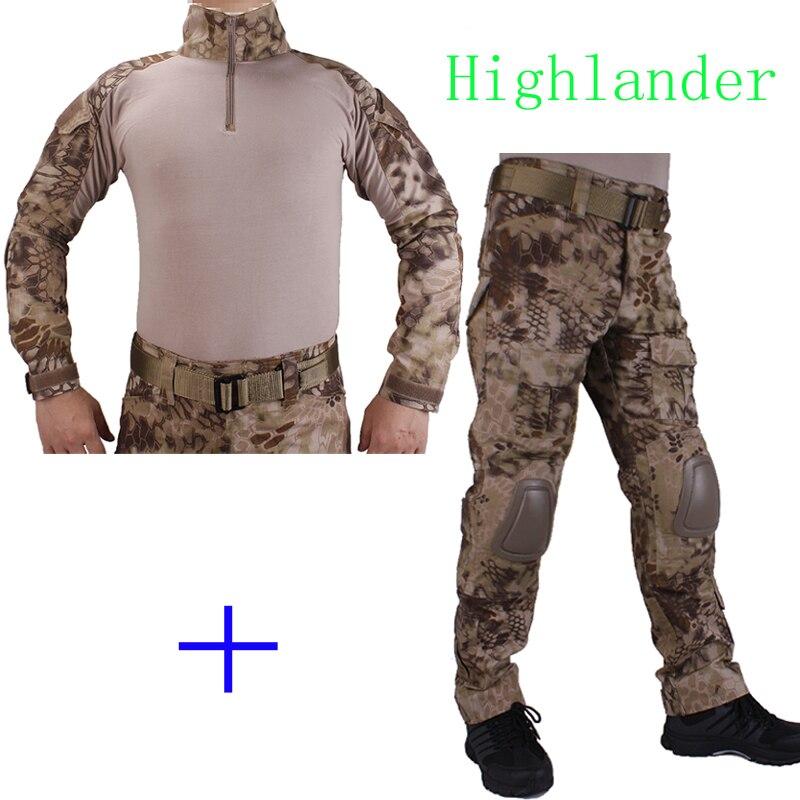 Hunting Camouflage BDU HLD Combat uniform shirt met Broek en Elbow & KneePads militaire  ...