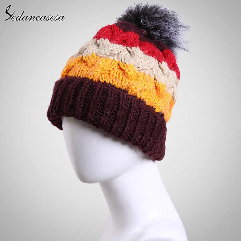Sedancasesa Nieuwe Winter Hoed Vrouwelijke Koreaanse Mode Hoed Oorkleppen Cap Met mooie Bont Pom gebreide Muts Warm Houden voor Paar AA150067