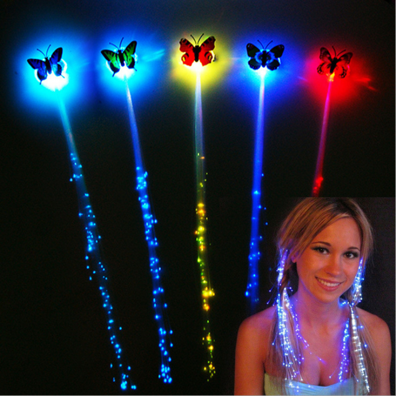 Smart Led Luminous Braided Wigs Halloween Decorations Atmosphere Cheer Props Fiber Colorful Butterfly Light Hair Party Birthday Gift Products Hot Sale
