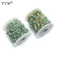 Brass Decorative Chain with plastic spool & Green Aventurine plated natural nickel lead & cadmium free 16x5-12x3-10mm 10m/Lot