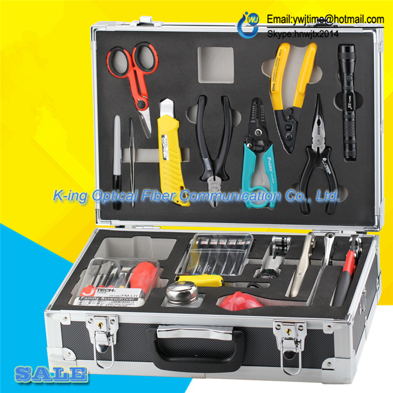 high quality 19 PCS FTTH Optical Cable Construction Toolbox FTTH construction kit Cable kit Fiber Toolbox DHL Free Shipping